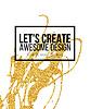 Goldene Design-Elemente Hand gezeichnet. Vorlagen für