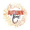 Vektor Cliparts: Herbstblätter Kranz. Aquarell Textur. Fallblatt