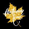 Vektor Cliparts: Autumn Hand geschrieben Schriftzug. Golden, schwarz und