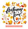 Vektor Cliparts: Farbe Herbstlaub. Fallblatt-Set
