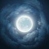Vektor Cliparts: Nachthimmel mit Mond und Wolken