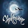 Vektor Cliparts: Halloween-Design mit Vollmond mit blauem Himmel