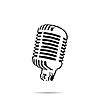 Векторный клипарт: Черный силуэт значок микрофона ретро этап
