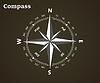 Kompass-Symbol auf schwarzem Hintergrund
