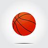 Basketball Ball mit Schatten auf grauem Hintergrund