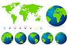Weltkarte mit allen Ländern, Set von Erde-Kugeln