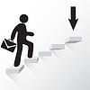 Mann mit Koffer zu Fuß in Richtung Ziel, Treppen