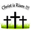 Drei Kreuze auf Gras auferstandenen Christus