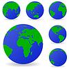 Set der Globus-Icons zeigt Erde mit allen Kontinenten