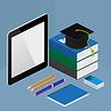 Infographic Online-Bildung-Konzept in isometrischer
