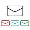 Envelope Symbol Mail flachen Stil unterschiedlicher Farbe