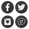 Stellen Sie Social Media Icons in flachen Stil