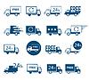 Reihe von Logos Lieferfahrzeuge in verschiedenen Ausführungen