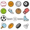 Sport Set von 14 Icons im flachen Stil