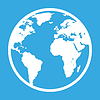 Icon of earth globe in flat style on blue background | 向量插图