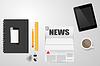 Desktop für Nachrichten, Kaffee Electronics lesen