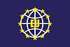 Flagge der Europäischen Union mit Globus und Schatten