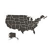 Contour Karte von USA schwarze Farbe