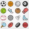 Variety Sport in flachen Stil auf grauem Hintergrund