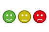 Vektor Cliparts: Smileys flachen Stil auf gelbem Hintergrund