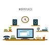 Vektor Cliparts: Arbeitsplatz weißen Hintergrund im flachen Stil