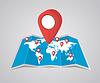 Vektor Cliparts: Weltkarte mit Zeiger