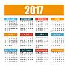Vektor Cliparts: Kalender für das Jahr 2017 in bunten flachen Stil