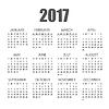 Vektor Cliparts: Kalender für das Jahr 2017 in flachen Stil