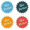 Vektor Cliparts: Satz von Aufklebern mit der Aufschrift neues Produkt