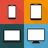 Vektor Cliparts: Set von Techniken, die in flachen, Handys, Tabletten,