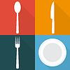 Vektor Cliparts: Vier Hintergründe mit Speise Artikel in Wohnung