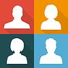 Vektor Cliparts: Silhouetten von Männern und Frauen auf verschiedenen farbigen