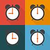 Vektor Cliparts: Stellen Sie Wecker mit verschiedenen Zeit von morgens bis