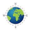 Vektor Cliparts: Compass mit Weltkarte und weißem Hintergrund