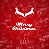 Vektor Cliparts: Frohe Weihnachten Hintergrund mit Rehen und Text