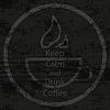 Vektor Cliparts: Halten Sie Logo Retro mit Text ruhig und Kaffee trinken