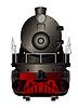 Vorderansicht einer alten Dampflokomotive