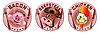 drei Embleme mit Tierköpfen