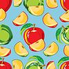 Szwu z zielonym i czerwonym jabłkiem i Slice Apple | Stock Vector Graphics