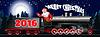 Banner einer Illustration von Santa Claus auf einem Dampflok