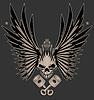 Schädel-Flügel und gekreuzte Kolben Illustration