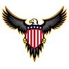 Patriotic American Eagle, Flügel ausbreiten, mit Schild