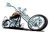 Custom Motorcycle Chopper Cartoon Illustration   Stock Foto