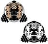 Векторный клипарт: Тяжелая атлетика Мышцы Тренажерный зал Логотип Иллюстрация