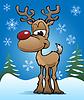 Векторный клипарт: Симпатичные Рождественский праздник Красный Нос олень Иллюстрация