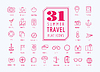 Travel Icons. Sea, Router und Urlaub Symbole.