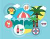Reisen auf Island. Regenschirm, Meer und Palm