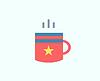 Red Cup-Symbol. Tea Objekte oder Getränke und Speisen sym