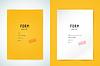 Yellow Ordner leer. Blank, Papier, Form und Text.
