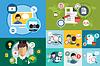 Online-Bildung-Symbole. Webinar, in der Schule. Büro